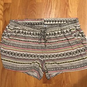 Old Navy Black Pink & Yellow Patterned Shorts SzXL